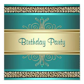 Fiesta del cumpleaños de la mujer negra del oro invitación 13,3 cm x 13,3cm