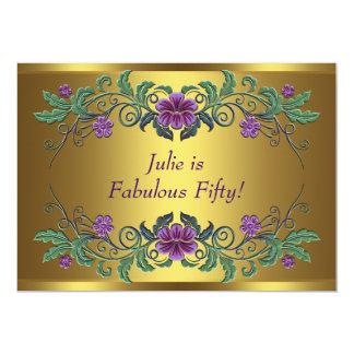 Fiesta del cumpleaños de la mujer púrpura de la invitación 12,7 x 17,8 cm