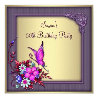 Fiesta del cumpleaños de la mujer púrpura de la invitación 13,3 cm x 13,3cm