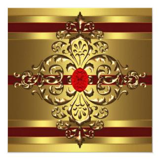 Fiesta del cumpleaños de la mujer roja de rubíes invitación 13,3 cm x 13,3cm