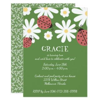 Fiesta del cumpleaños de la niña del verde de invitación 12,7 x 17,8 cm