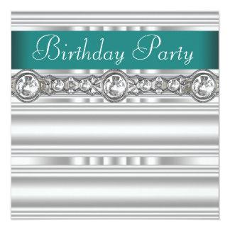 Fiesta del cumpleaños de los diamantes de jade de invitación 13,3 cm x 13,3cm