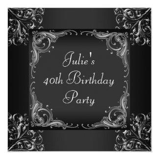 Fiesta del cumpleaños de plata de la mujer negra invitación 13,3 cm x 13,3cm
