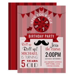 Fiesta del cumpleaños del circo de los niños invitación 12,7 x 17,8 cm