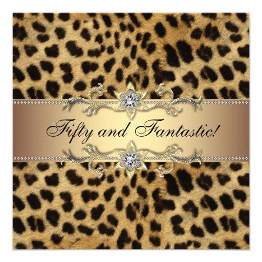 Fiesta del cumpleaños del leopardo de la mujer invitacion personalizada