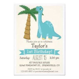 Fiesta del cumpleaños del niño azul del dinosaurio invitación 12,7 x 17,8 cm