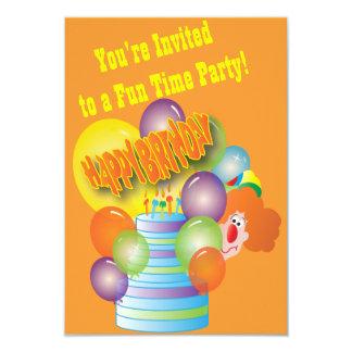 Fiesta del cumpleaños del niño del payaso invitación 8,9 x 12,7 cm
