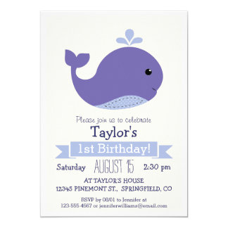 Fiesta del cumpleaños del niño púrpura lindo de la invitación 12,7 x 17,8 cm