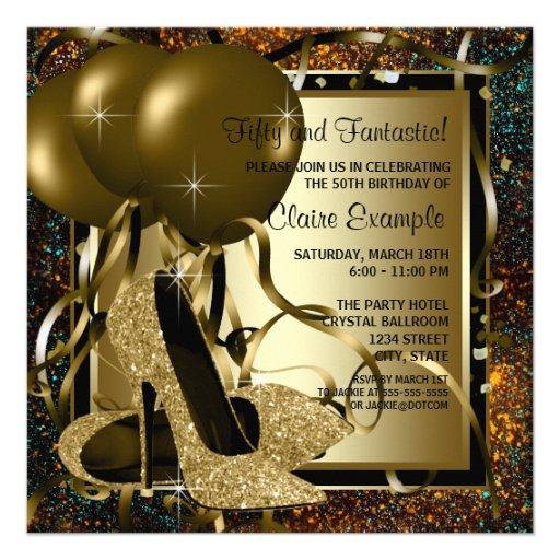 Fiesta del cumpleaños del oro de la mujer negra de invitación personalizada
