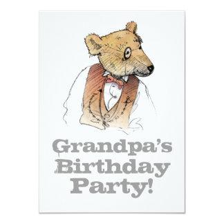 Fiesta del cumpleaños del oso del abuelo invitación 11,4 x 15,8 cm