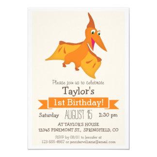 Fiesta del cumpleaños del Pterodactyl del niño Invitación 12,7 X 17,8 Cm