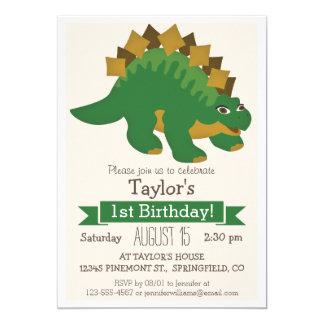 Fiesta del cumpleaños del Stegosaurus del niño Invitación 12,7 X 17,8 Cm