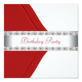 Fiesta del cumpleaños elegante de la mujer blanca invitación 13,3 cm x 13,3cm