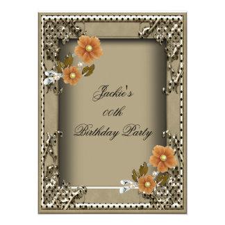 Fiesta del cumpleaños elegante de las mujeres invitación 13,9 x 19,0 cm