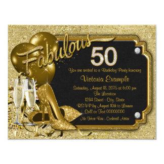 Fiesta del cumpleaños fabulosa 50 de la mujer invitación 10,8 x 13,9 cm