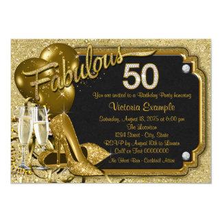 Fiesta del cumpleaños fabulosa 50 de la mujer invitación 11,4 x 15,8 cm