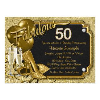 Fiesta del cumpleaños fabulosa 50 de la mujer invitación 13,9 x 19,0 cm