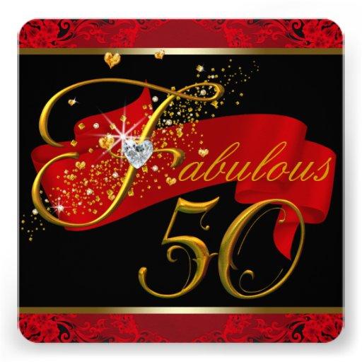Fiesta del cumpleaños fabulosa roja de la mujer 50 comunicado personalizado