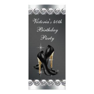 Fiesta del cumpleaños negra elegante de la mujer invitaciones personalizada