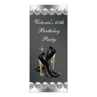 Fiesta del cumpleaños negra elegante de la mujer invitación 10,1 x 23,5 cm