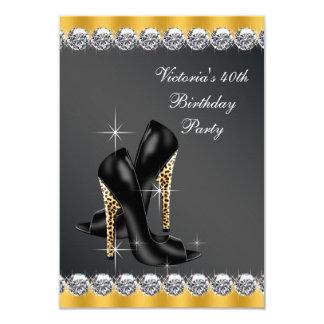 Fiesta del cumpleaños negra elegante de la mujer invitación 8,9 x 12,7 cm