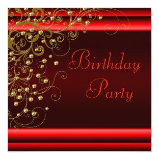 Fiesta del cumpleaños negra roja de la mujer del invitación 13,3 cm x 13,3cm