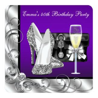 Fiesta del cumpleaños púrpura de la mujer invitación 13,3 cm x 13,3cm