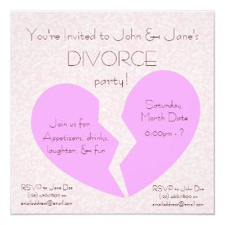 Fiesta del divorcio invitación 13,3 cm x 13,3cm