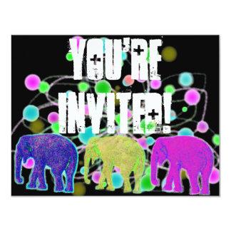 Fiesta del elefante invitación 10,8 x 13,9 cm