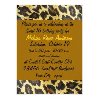 Fiesta del estampado leopardo del dulce 16 invitación 13,9 x 19,0 cm