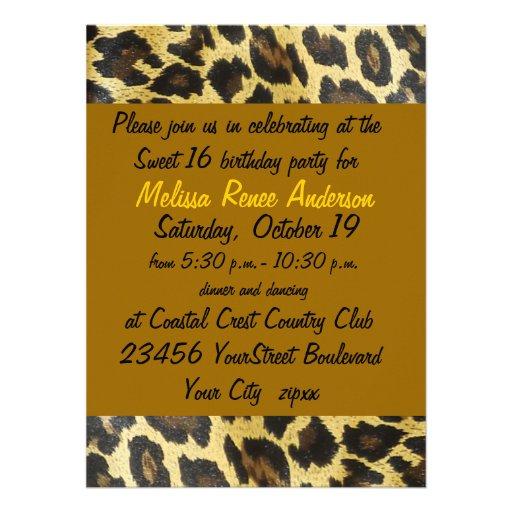 Fiesta del estampado leopardo del dulce 16 anuncio personalizado