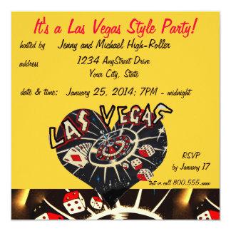 Fiesta del estilo del casino de Las Vegas Invitación 13,3 Cm X 13,3cm