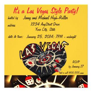 Fiesta del estilo del casino de Las Vegas Invitacion Personalizada