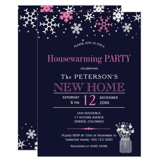Fiesta del estreno de una casa del invierno del invitación 12,7 x 17,8 cm
