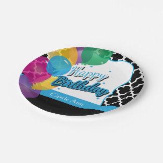Fiesta del feliz cumpleaños con los globos en azul plato de papel