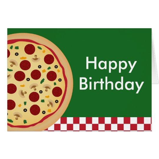 Fiesta del feliz cumpleaños de la pizza tarjeta de felicitación