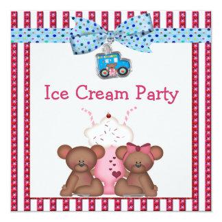 Fiesta del helado del oso de peluche invitación 13,3 cm x 13,3cm