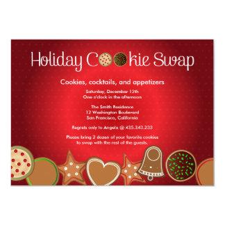 Fiesta del intercambio de la galleta del navidad invitación 11,4 x 15,8 cm