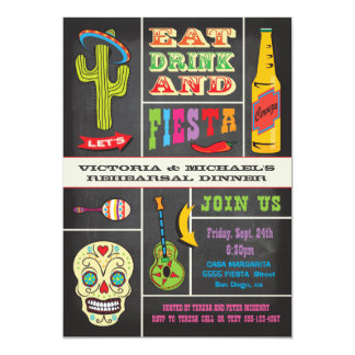 Fiesta del mexicano de la cena del ensayo de la invitación 12,7 x 17,8 cm