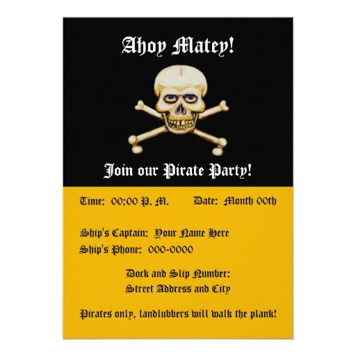 Fiesta del pirata de los huesos del amd del cráneo invitación