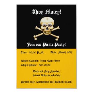 Fiesta del pirata de los huesos del amd del cráneo invitación 12,7 x 17,8 cm