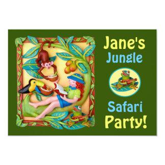 Fiesta del safari del tintineo del chica invitación 12,7 x 17,8 cm