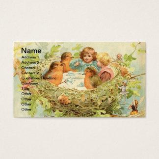 Fiesta del té de la jerarquía del pájaro del tarjeta de visita