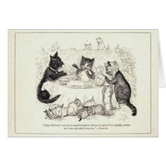 Fiesta del té del gatito tarjeta de felicitación