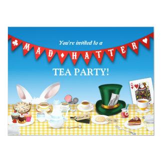 Fiesta del té enojada del sombrerero invitación 16,5 x 22,2 cm