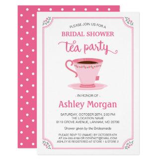 Fiesta del té nupcial floral rosada elegante invitación 12,7 x 17,8 cm