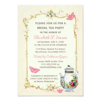 Fiesta del té nupcial francesa del vintage rosado invitación 12,7 x 17,8 cm