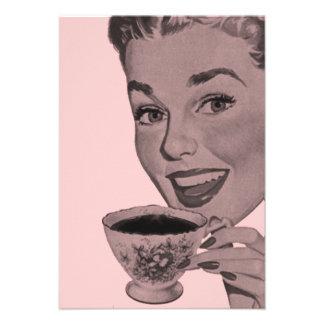Fiesta del té retra V2 Invitación Personalizada
