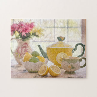Fiesta del té rústica del verano puzzle