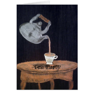 Fiesta del té suspendida de la tetera tarjeton